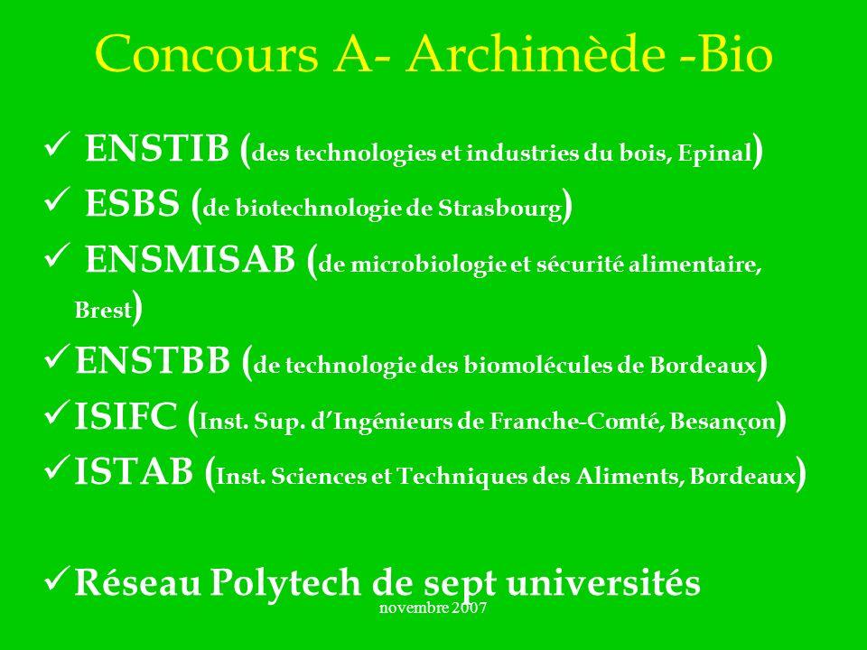novembre 2007 Concours A- Archimède -Bio ENSTIB ( des technologies et industries du bois, Epinal ) ESBS ( de biotechnologie de Strasbourg ) ENSMISAB (