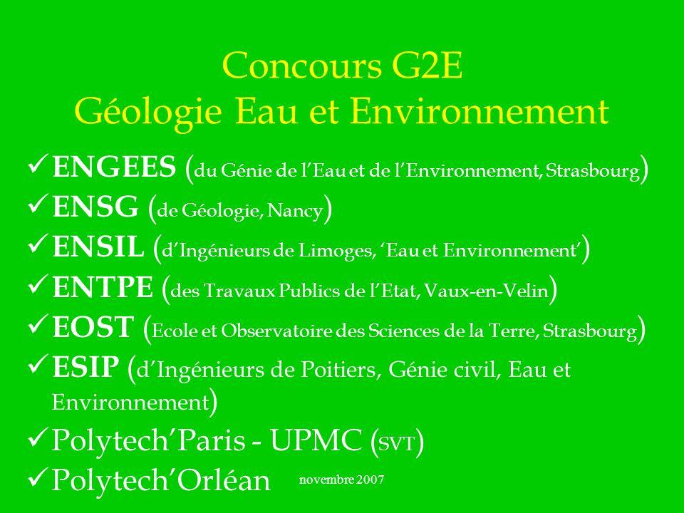 novembre 2007 Concours G2E Géologie Eau et Environnement ENGEES ( du Génie de lEau et de lEnvironnement, Strasbourg ) ENSG ( de Géologie, Nancy ) ENSI