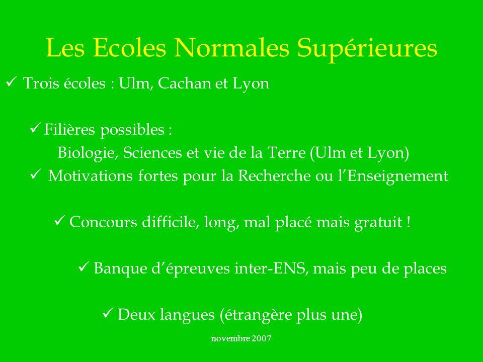 novembre 2007 Les Ecoles Normales Supérieures Trois écoles : Ulm, Cachan et Lyon Filières possibles : Biologie, Sciences et vie de la Terre (Ulm et Ly