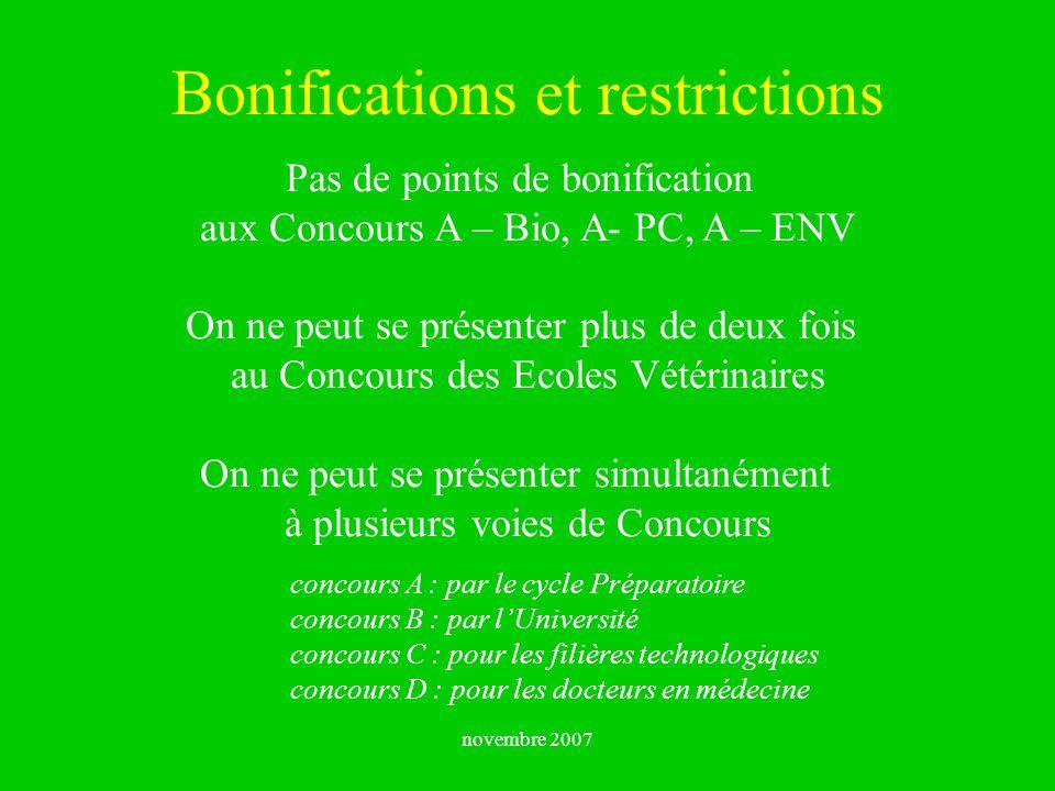 novembre 2007 Bonifications et restrictions Pas de points de bonification aux Concours A – Bio, A- PC, A – ENV On ne peut se présenter plus de deux fo