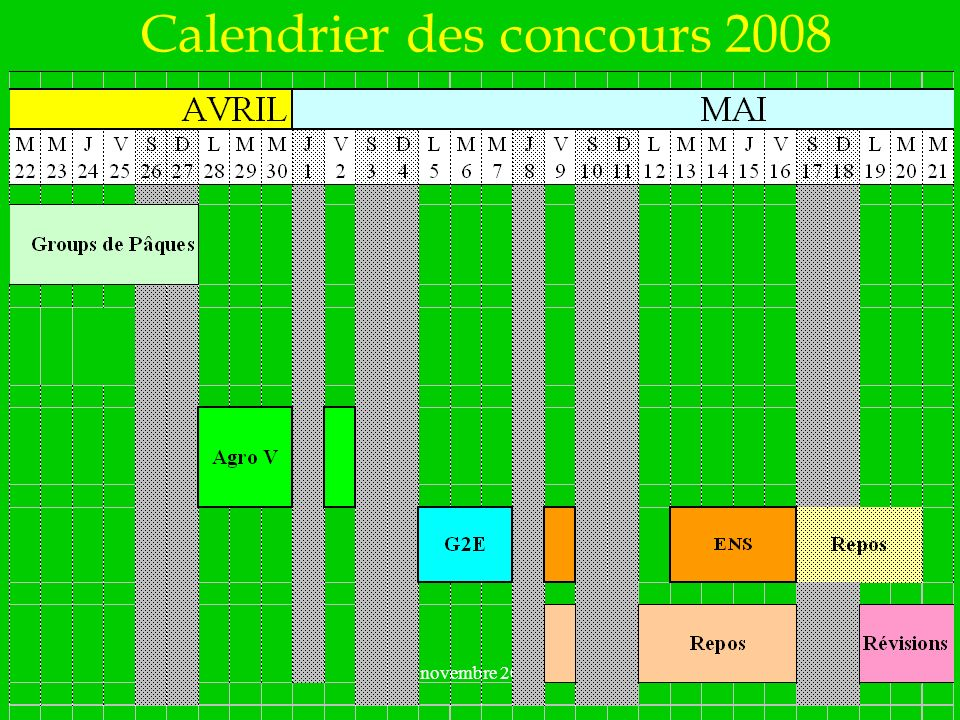 novembre 2007 Calendrier des concours 2008