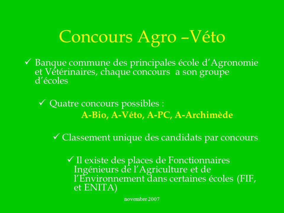novembre 2007 Concours A-Bio INAPG – Groupe ParisTech ENSAM (Montpellier) ENSAR (Agrocampus - Rennes) ENSAT (Toulouse) ENSAIA ( dagronomie et des industries alimentaire, Nancy ) ENSHAP ( dhorticulture et daménagement du paysage, Angers ) ENSIA – Groupe ParisTech ( des industries agricoles et alimentaires, Massy ) ENSBANA( de biologie appliquée à la nutrition et à lalimentation, Dijon ) FIF / ENGREF ( Formation des Ingénieurs Forestiers, Nancy ) ENITIAA ( des techniques des industries agricoles et alimentaires, Nantes ) + 2 ENITA de Bordeaux et Clermont-Ferrand et lENSAD (Dijon)