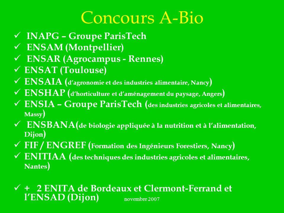 novembre 2007 Concours A-Bio INAPG – Groupe ParisTech ENSAM (Montpellier) ENSAR (Agrocampus - Rennes) ENSAT (Toulouse) ENSAIA ( dagronomie et des indu