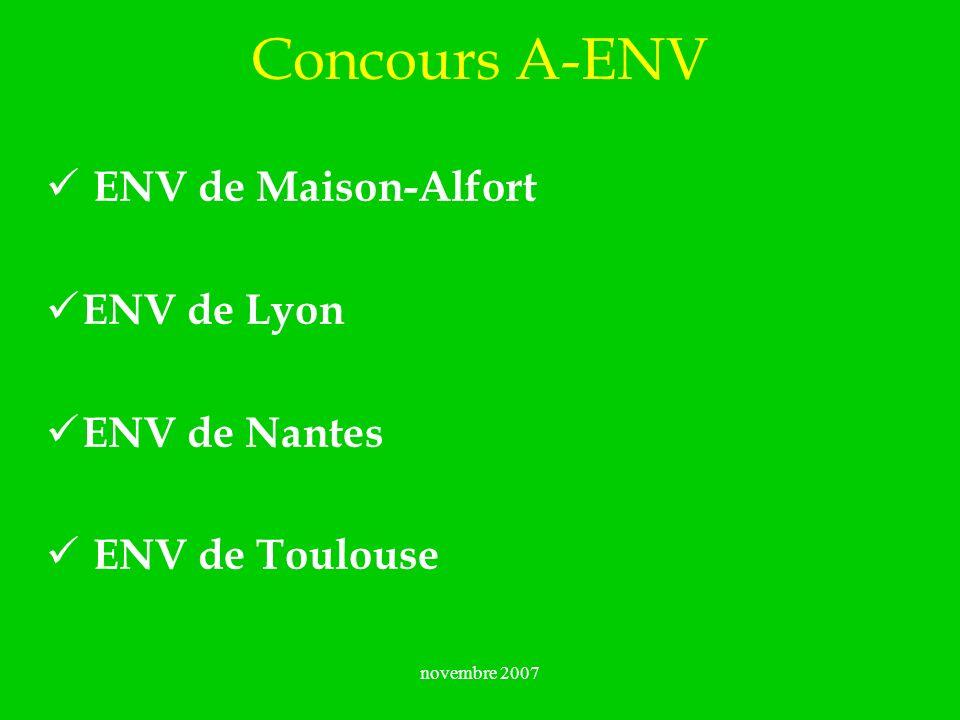 novembre 2007 Concours A-ENV ENV de Maison-Alfort ENV de Lyon ENV de Nantes ENV de Toulouse