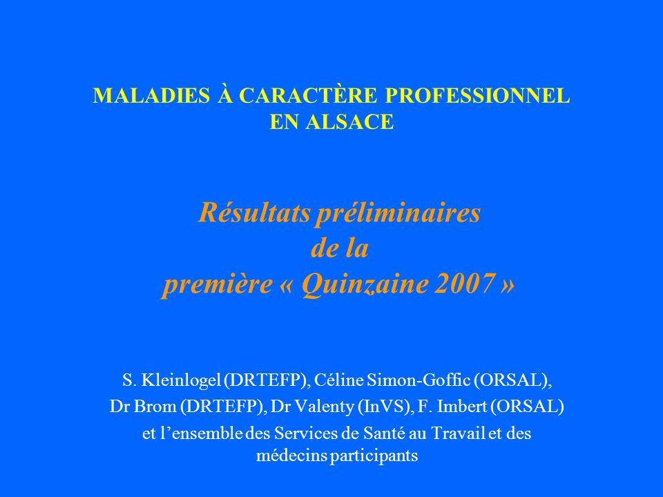 MALADIES À CARACTÈRE PROFESSIONNEL EN ALSACE S. Kleinlogel (DRTEFP), Céline Simon-Goffic (ORSAL), Dr Brom (DRTEFP), Dr Valenty (InVS), F. Imbert (ORSA