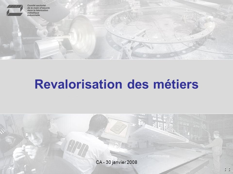 CA - 30 janvier 2008 Revalorisation des métiers