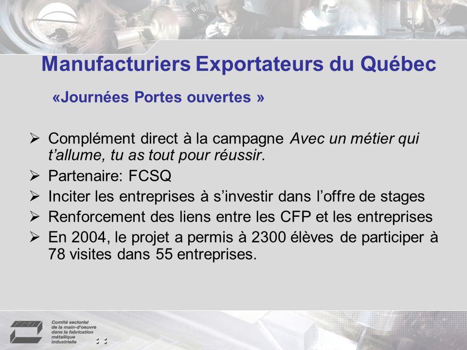 Manufacturiers Exportateurs du Québec «Journées Portes ouvertes » Complément direct à la campagne Avec un métier qui tallume, tu as tout pour réussir.