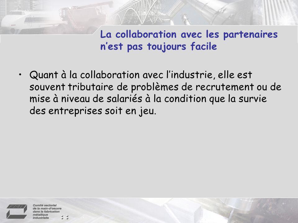 La collaboration avec les partenaires nest pas toujours facile Quant à la collaboration avec lindustrie, elle est souvent tributaire de problèmes de r