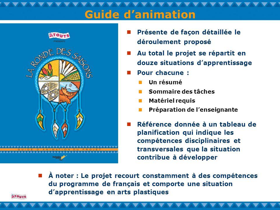 Guide danimation Un résumé Sommaire des tâches Matériel requis Préparation de lenseignante Présente de façon détaillée le déroulement proposé À noter