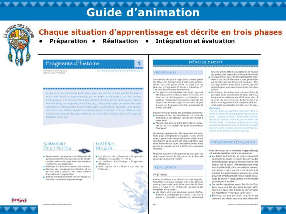 Guide danimation PréparationRéalisationIntégration et évaluation Chaque situation dapprentissage est décrite en trois phases