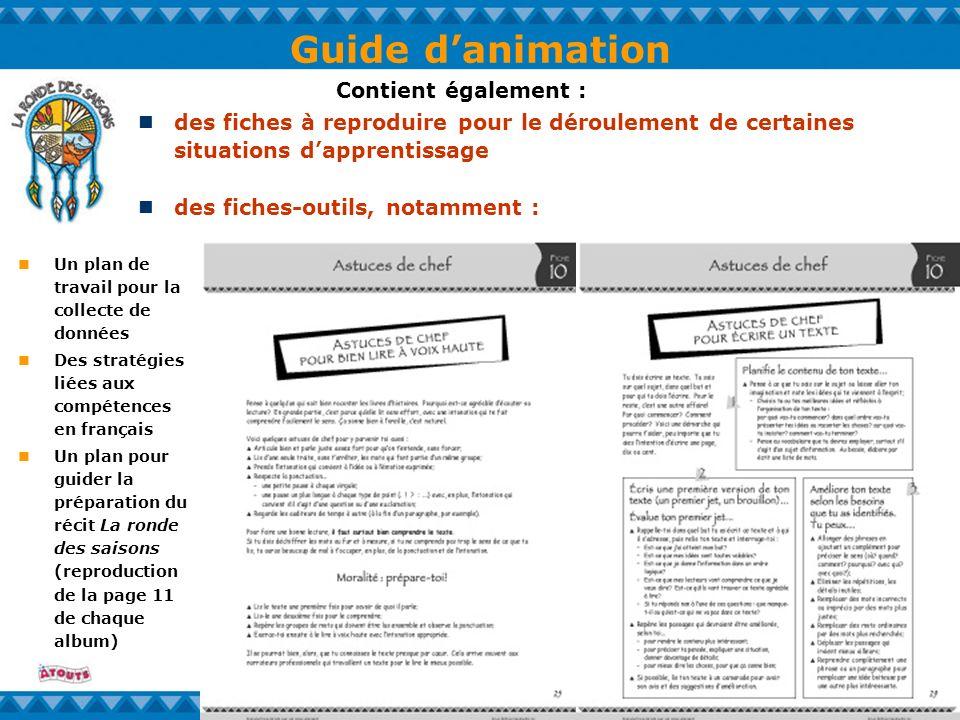 Guide danimation Un plan de travail pour la collecte de données Des stratégies liées aux compétences en français Un plan pour guider la préparation du