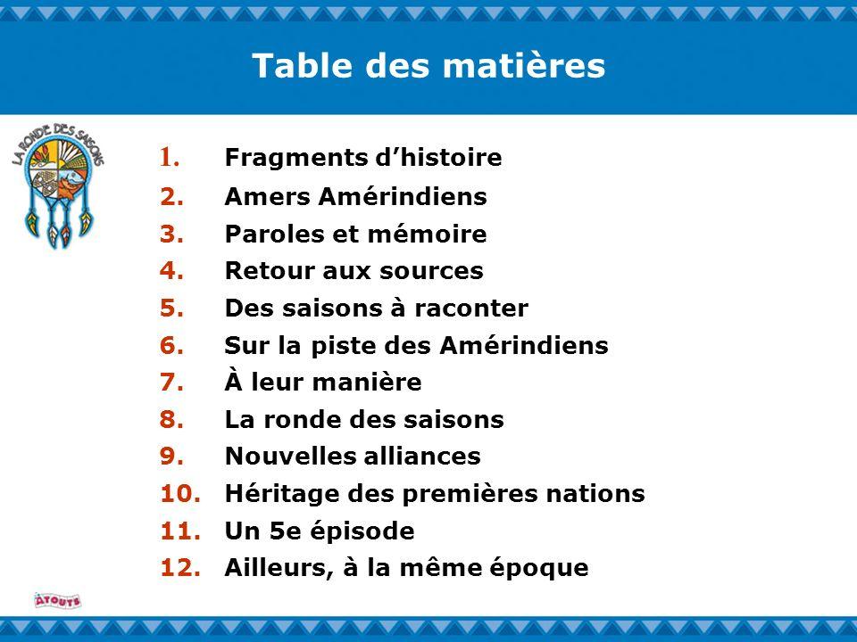 Table des matières 1. Fragments dhistoire 2. Amers Amérindiens 3. Paroles et mémoire 4. Retour aux sources 5. Des saisons à raconter 6. Sur la piste d