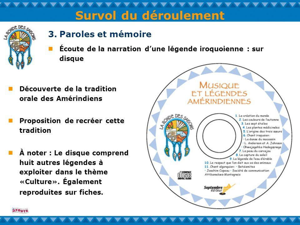Survol du déroulement Écoute de la narration dune légende iroquoienne : sur disque 3.Paroles et mémoire Découverte de la tradition orale des Amérindie