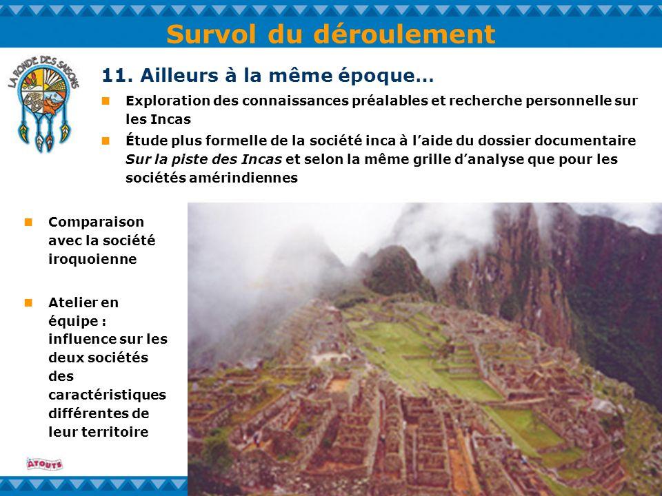Survol du déroulement 11. Ailleurs à la même époque… Exploration des connaissances préalables et recherche personnelle sur les Incas Étude plus formel