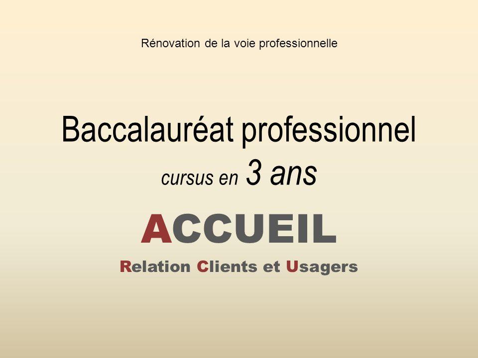 Baccalauréat professionnel cursus en 3 ans ACCUEIL Relation Clients et Usagers Rénovation de la voie professionnelle