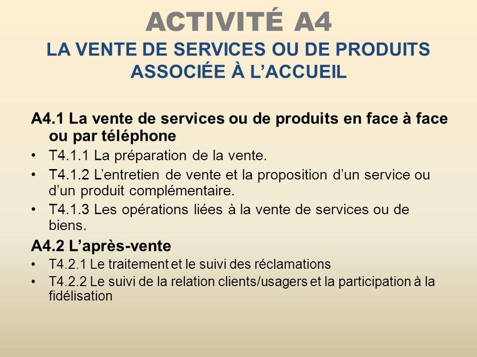 ACTIVITÉ A4 LA VENTE DE SERVICES OU DE PRODUITS ASSOCIÉE À LACCUEIL A4.1 La vente de services ou de produits en face à face ou par téléphone T4.1.1 La