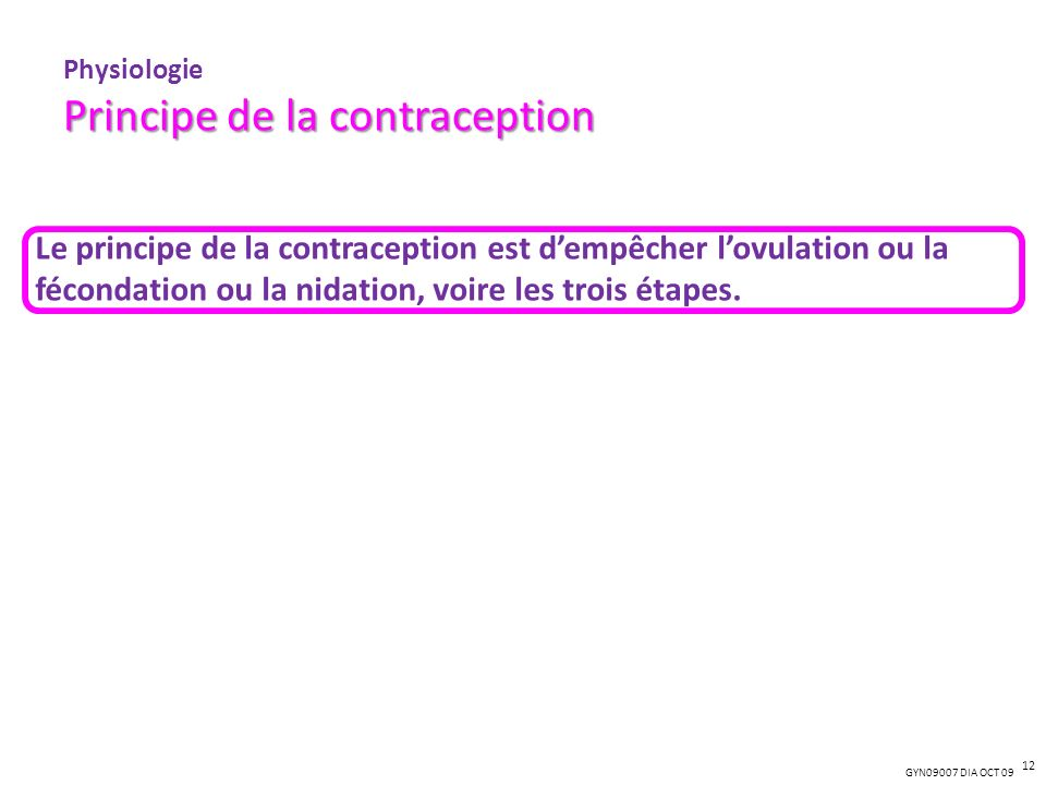 GYN09007 DIA OCT 09 Principe de la contraception Physiologie Principe de la contraception Le principe de la contraception est dempêcher lovulation ou