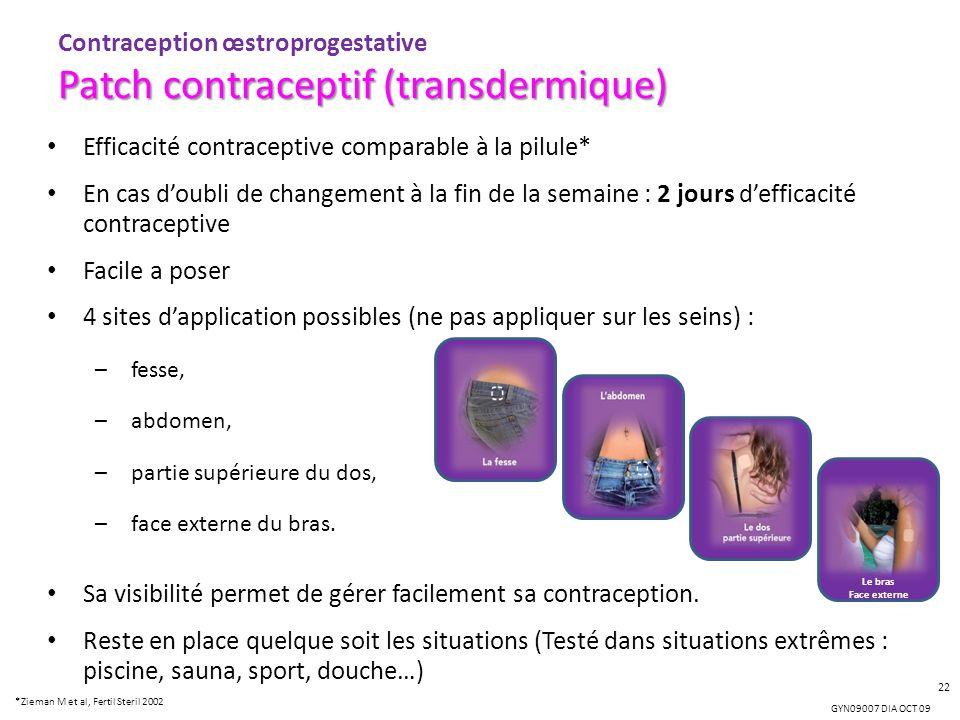 GYN09007 DIA OCT 09 Efficacité contraceptive comparable à la pilule* En cas doubli de changement à la fin de la semaine : 2 jours defficacité contrace