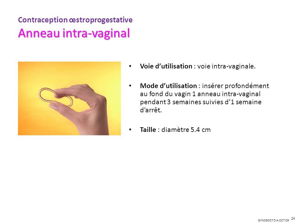 GYN09007 DIA OCT 09 Voie dutilisation : voie intra-vaginale. Mode dutilisation : insérer profondément au fond du vagin 1 anneau intra-vaginal pendant