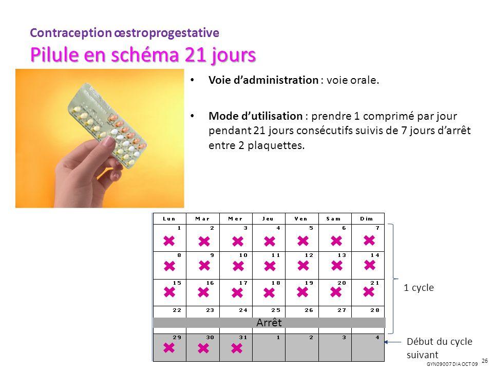 GYN09007 DIA OCT 09 Voie dadministration : voie orale. Mode dutilisation : prendre 1 comprimé par jour pendant 21 jours consécutifs suivis de 7 jours