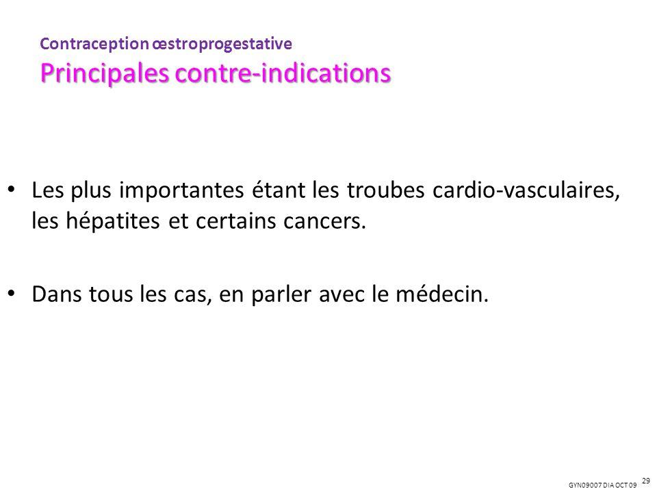 GYN09007 DIA OCT 09 Les plus importantes étant les troubes cardio-vasculaires, les hépatites et certains cancers. Dans tous les cas, en parler avec le