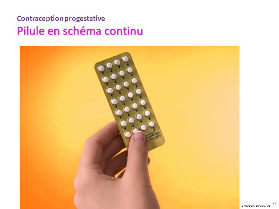 GYN09007 DIA OCT 09 Pilule en schéma continu Contraception progestative Pilule en schéma continu 32