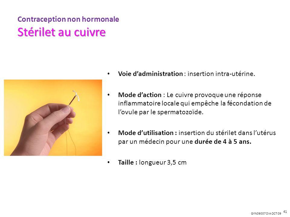 GYN09007 DIA OCT 09 Voie dadministration : insertion intra-utérine. Mode daction : Le cuivre provoque une réponse inflammatoire locale qui empêche la