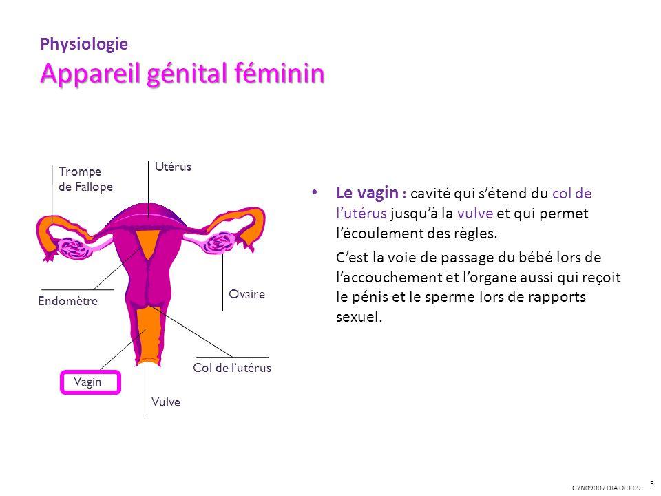 GYN09007 DIA OCT 09 Appareil génital féminin Physiologie Appareil génital féminin Le vagin : cavité qui sétend du col de lutérus jusquà la vulve et qu