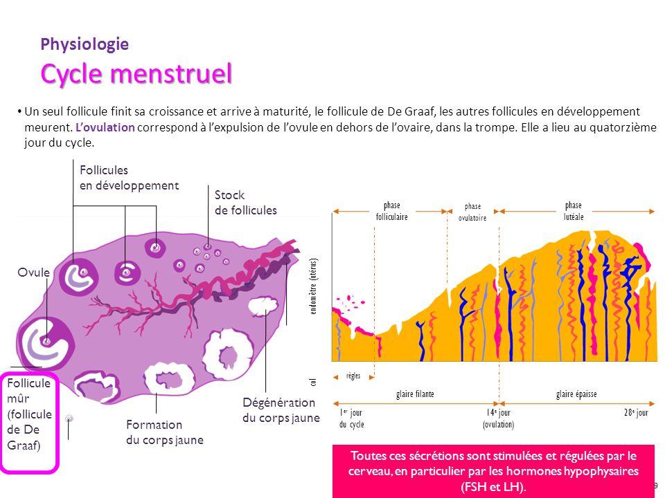 GYN09007 DIA OCT 09 Cycle menstruel Physiologie Cycle menstruel Un seul follicule finit sa croissance et arrive à maturité, le follicule de De Graaf,