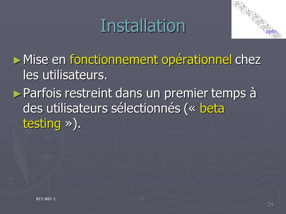 Installation Mise en fonctionnement opérationnel chez les utilisateurs. Mise en fonctionnement opérationnel chez les utilisateurs. Parfois restreint d