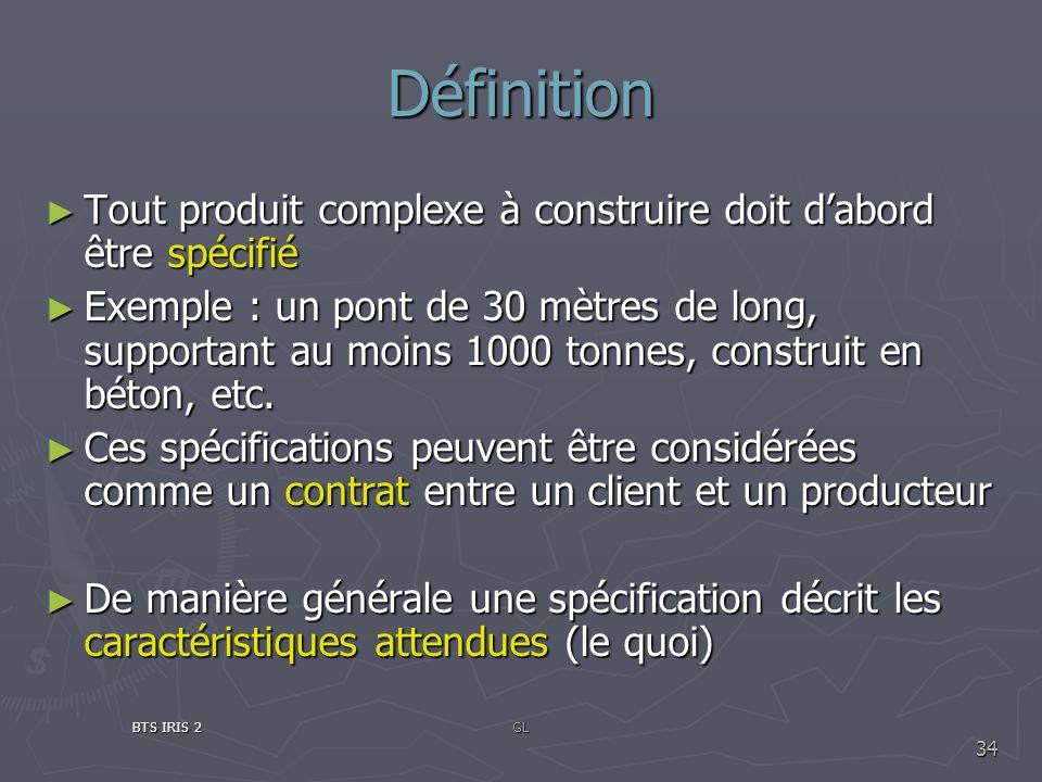 Définition Tout produit complexe à construire doit dabord être spécifié Tout produit complexe à construire doit dabord être spécifié Exemple : un pont