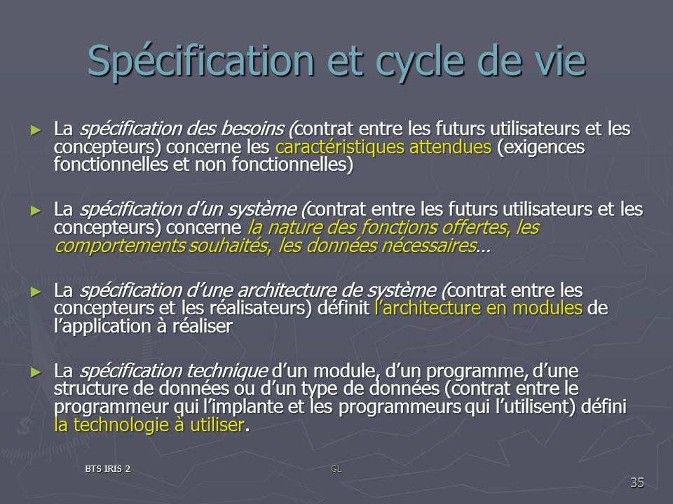 Spécification et cycle de vie La spécification des besoins (contrat entre les futurs utilisateurs et les concepteurs) concerne les caractéristiques at