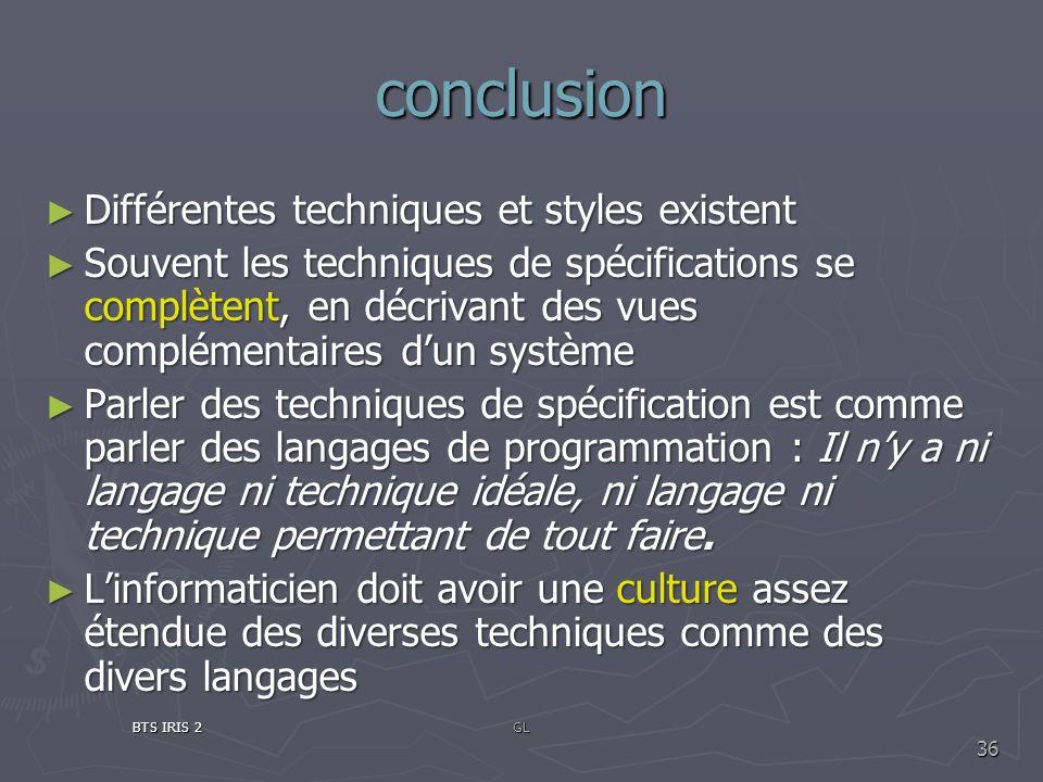 conclusion Différentes techniques et styles existent Différentes techniques et styles existent Souvent les techniques de spécifications se complètent,