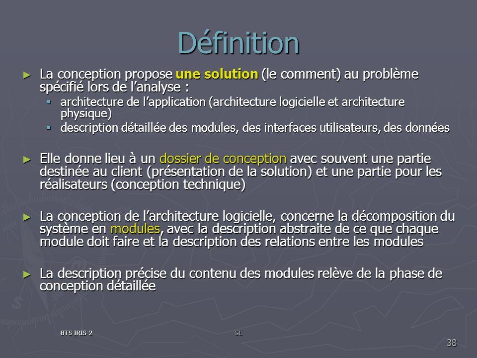 Définition La conception propose une solution (le comment) au problème spécifié lors de lanalyse : La conception propose une solution (le comment) au