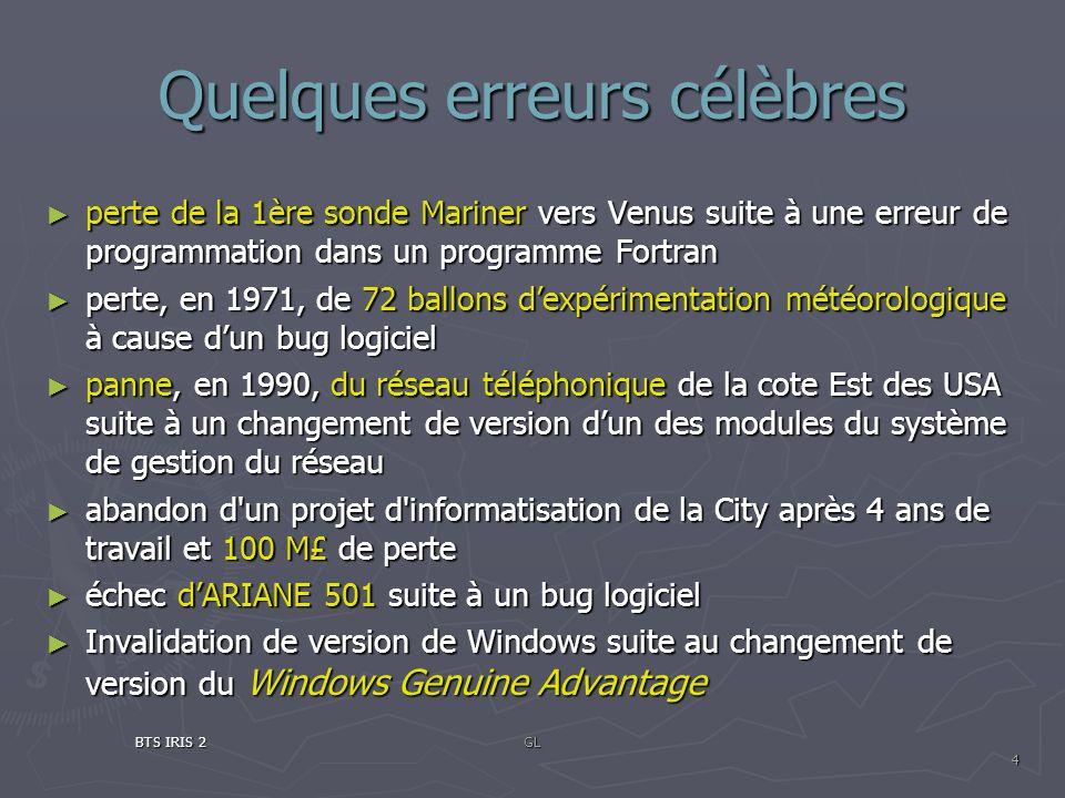Quelques erreurs célèbres perte de la 1ère sonde Mariner vers Venus suite à une erreur de programmation dans un programme Fortran perte de la 1ère son