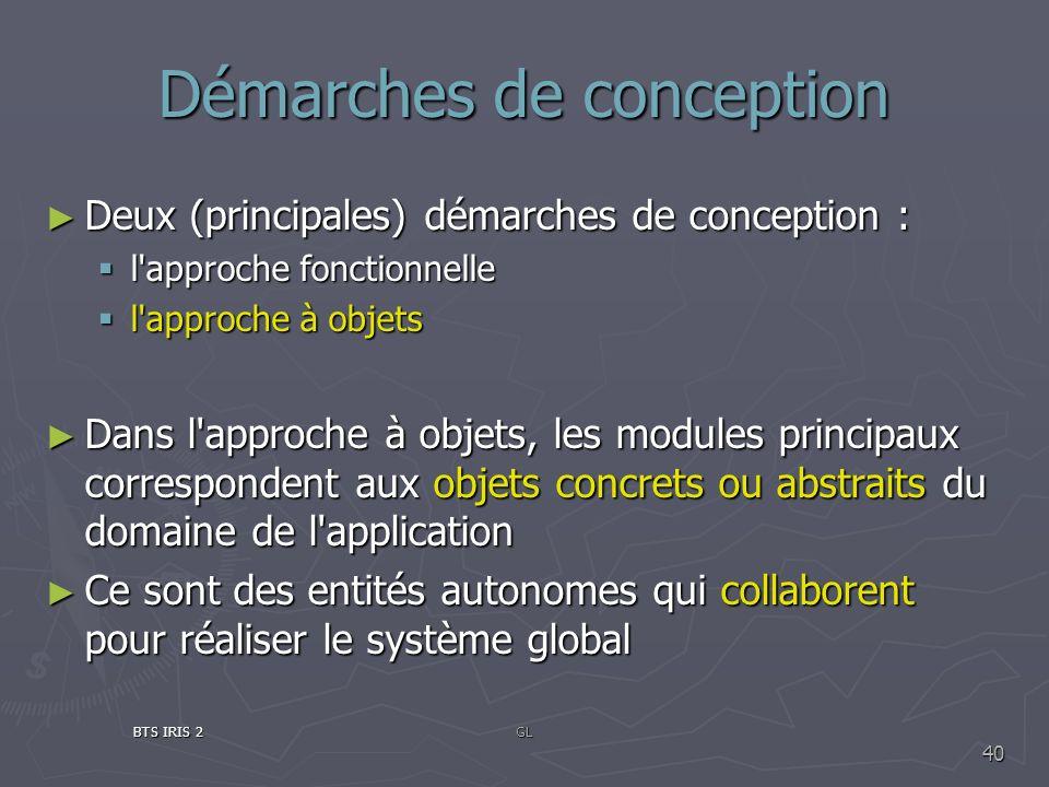 Démarches de conception Deux (principales) démarches de conception : Deux (principales) démarches de conception : l'approche fonctionnelle l'approche