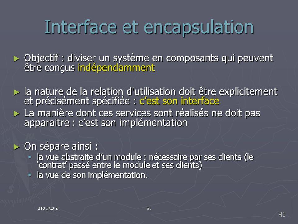 Interface et encapsulation Objectif : diviser un système en composants qui peuvent être conçus indépendamment Objectif : diviser un système en composa
