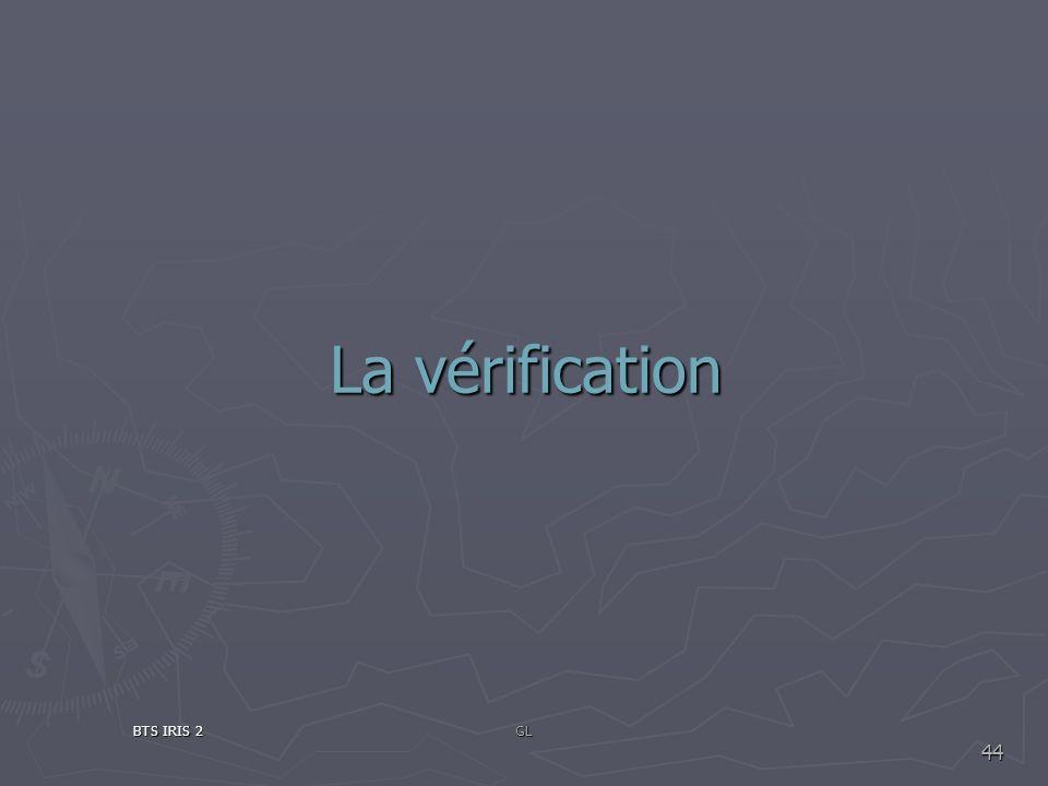 La vérification BTS IRIS 2GL 44