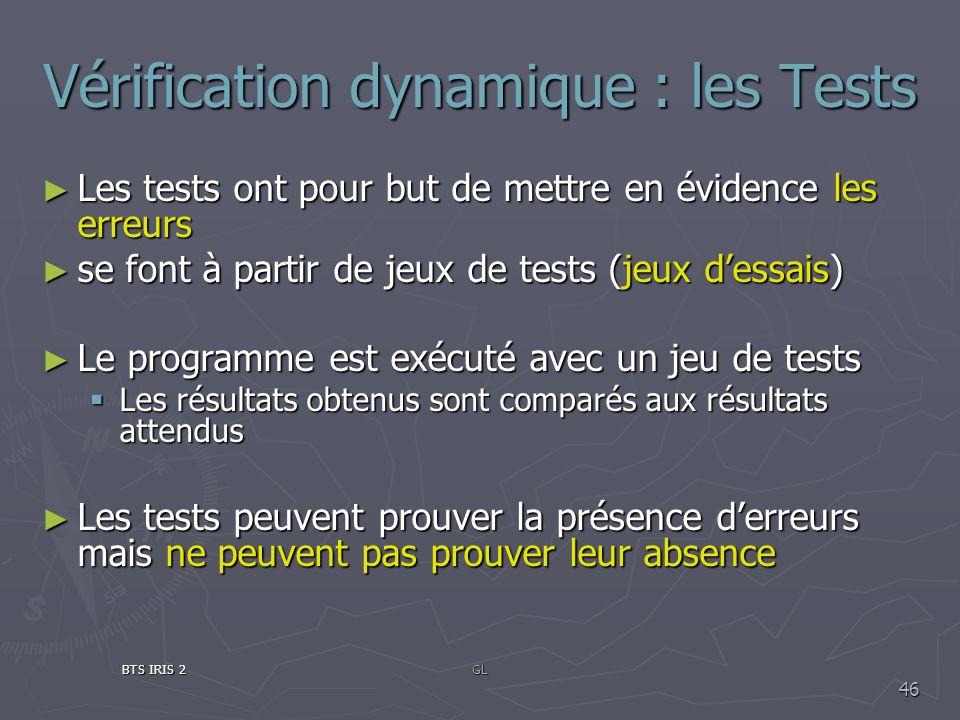 Vérification dynamique : les Tests Les tests ont pour but de mettre en évidence les erreurs Les tests ont pour but de mettre en évidence les erreurs s