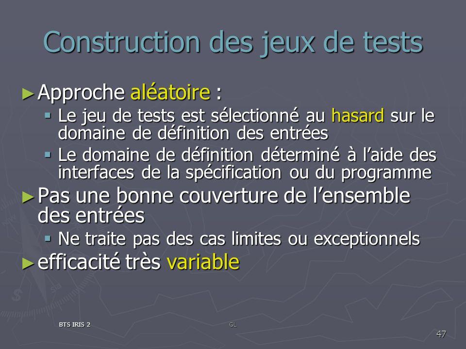 Construction des jeux de tests Approche aléatoire : Approche aléatoire : Le jeu de tests est sélectionné au hasard sur le domaine de définition des en