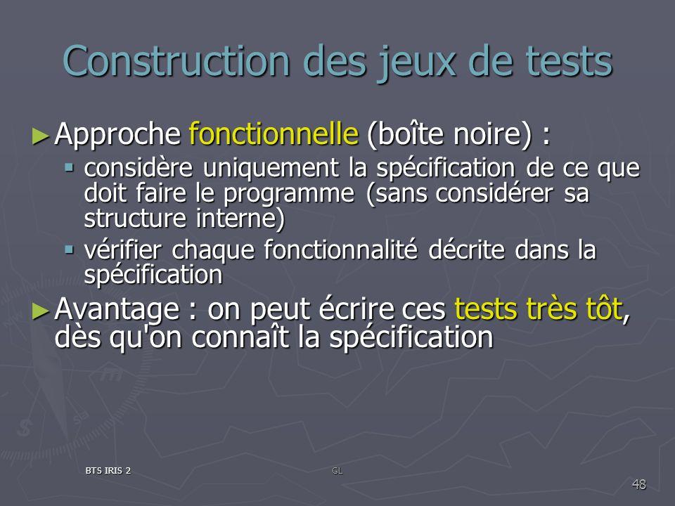Construction des jeux de tests Approche fonctionnelle (boîte noire) : Approche fonctionnelle (boîte noire) : considère uniquement la spécification de