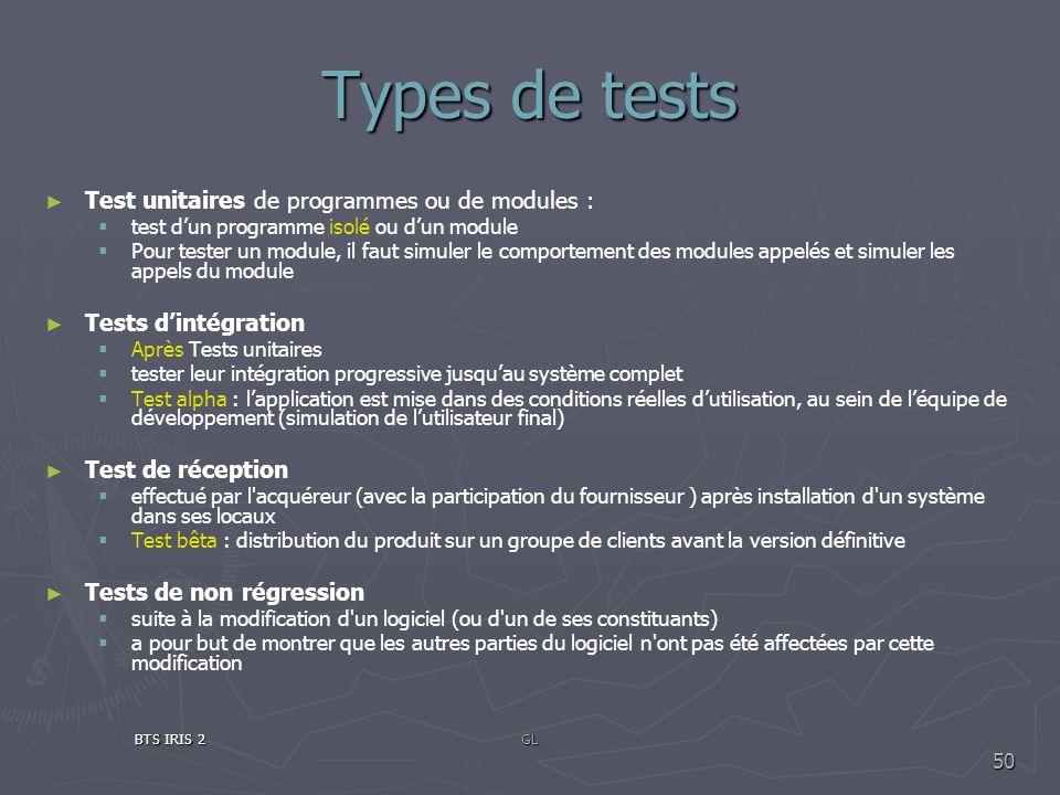 Types de tests Test unitaires de programmes ou de modules : test dun programme isolé ou dun module Pour tester un module, il faut simuler le comportem