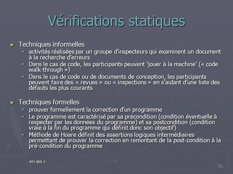 Vérifications statiques Techniques informelles Techniques informelles activités réalisées par un groupe dinspecteurs qui examinent un document à la re