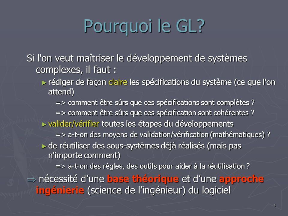 Pourquoi le GL? Si l'on veut maîtriser le développement de systèmes complexes, il faut : rédiger de façon claire les spécifications du système (ce que
