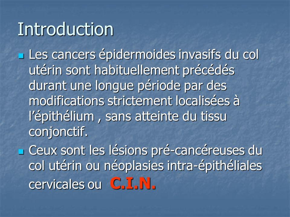 Introduction Les cancers épidermoides invasifs du col utérin sont habituellement précédés durant une longue période par des modifications strictement