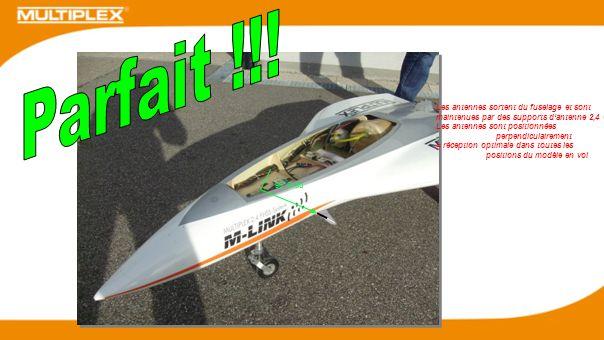 90 Grad Les antennes sortent du fuselage et sont maintenues par des supports dantenne 2,4 GHz Les antennes sont positionnées perpendiculairement = réc
