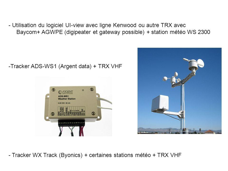 - Utilisation du logiciel UI-view avec ligne Kenwood ou autre TRX avec Baycom+ AGWPE (digipeater et gateway possible) + station météo WS 2300 -Tracker