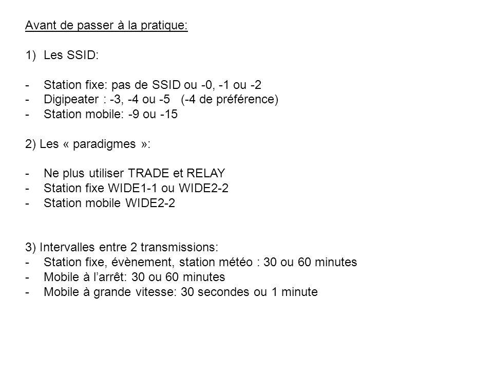 Avant de passer à la pratique: 1)Les SSID: -Station fixe: pas de SSID ou -0, -1 ou -2 -Digipeater : -3, -4 ou -5 (-4 de préférence) -Station mobile: -