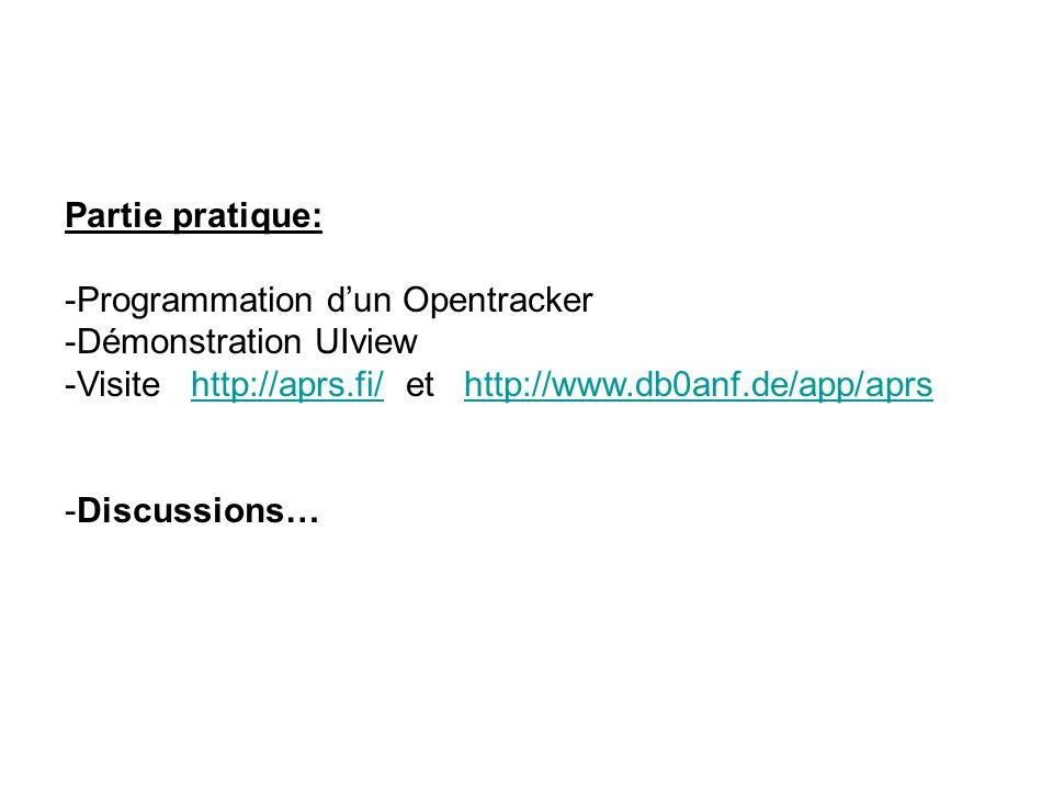 Partie pratique: -Programmation dun Opentracker -Démonstration UIview -Visite http://aprs.fi/ et http://www.db0anf.de/app/aprshttp://aprs.fi/http://ww