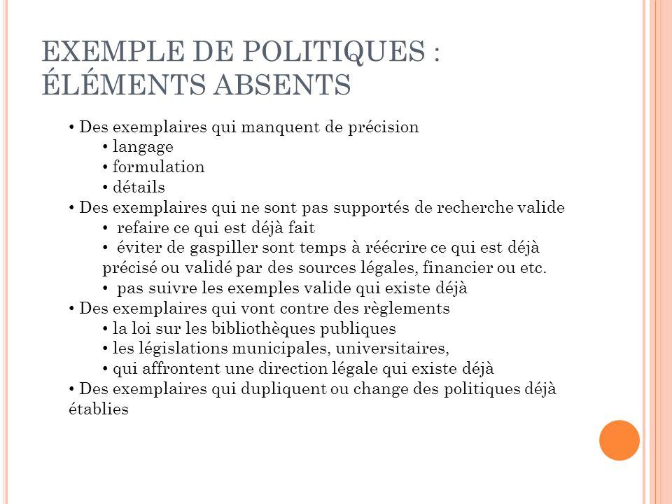 EXEMPLE DE POLITIQUES : ÉLÉMENTS ABSENTS Des exemplaires qui manquent de précision langage formulation détails Des exemplaires qui ne sont pas support